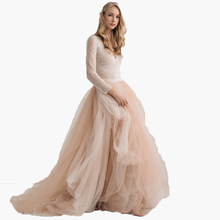 Champagne Soft Tulle Skirt Beach Chic Lady Tulle Skirts To Bridal Puffy Floor Length Tutu Skirt Custom Made Bottom For Wedding