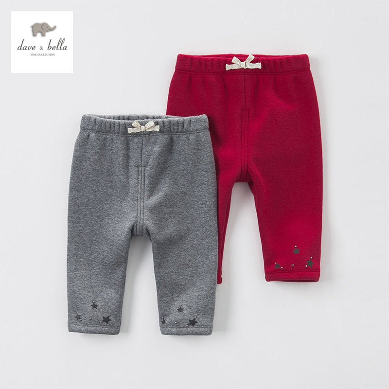 DB3947 dave bella autumn baby girls red grey star print pants