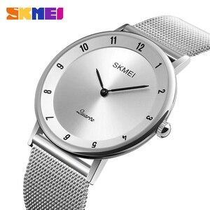 Image 4 - SKMEI prosty Ultra cienki zegarek kwarcowy siatka ze stali nierdzewnej zegarki męskie z paskiem moda wodoodporny zegar mężczyźni casualowe zegarki na rękę