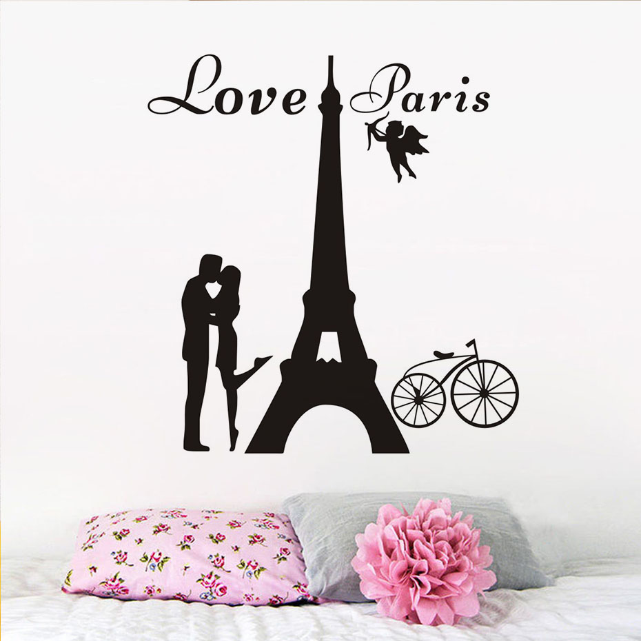 Love Paris Wall Decals Kissing Lover Removable Pvc Wall Art Sticker Lounge  Cafe Living Room Decorative DIY Wall Stickers  In Wall Stickers From Home  ...