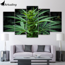 5 Piece Green Leaf Maple Canvas Art HD Print Plants Weeds Posters Wall Picture for Living Room Modular Home Decor