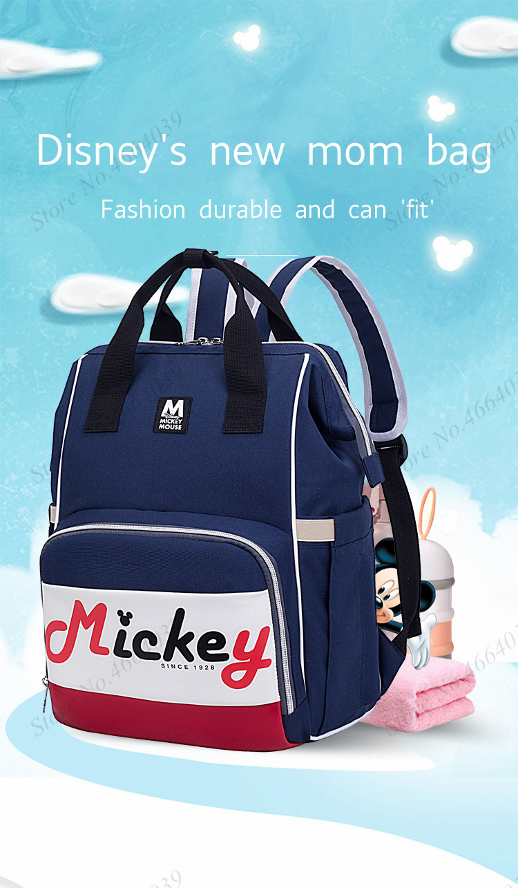 2019 New Disney Diaper Bag Backpack Large Capacity Waterproof Nappy Bag Kits Mummy Maternity Travel Backpack Nursing Handbag