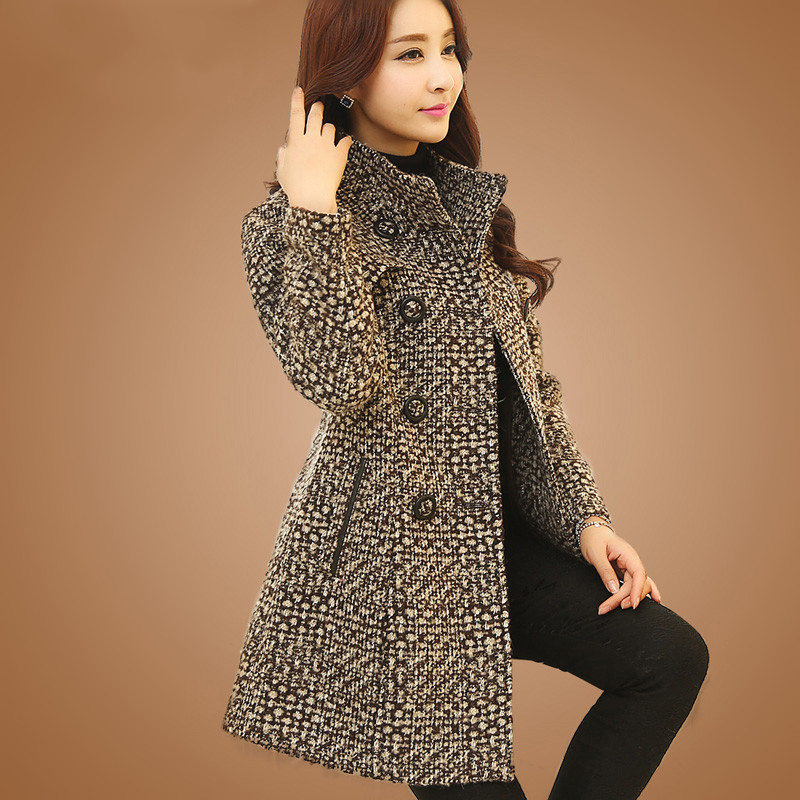 New Women's Wool Blends Coat Vinter 2018 Efterårsmode Elegant Mother Turtleneck Plaid Slim Long Tweed Uld Overtøj Kvinde
