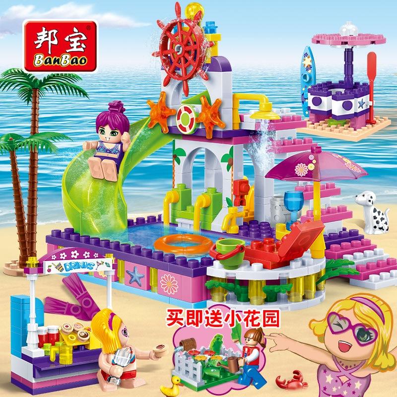 ФОТО Seaside holiday home children block toys gift box set block model family