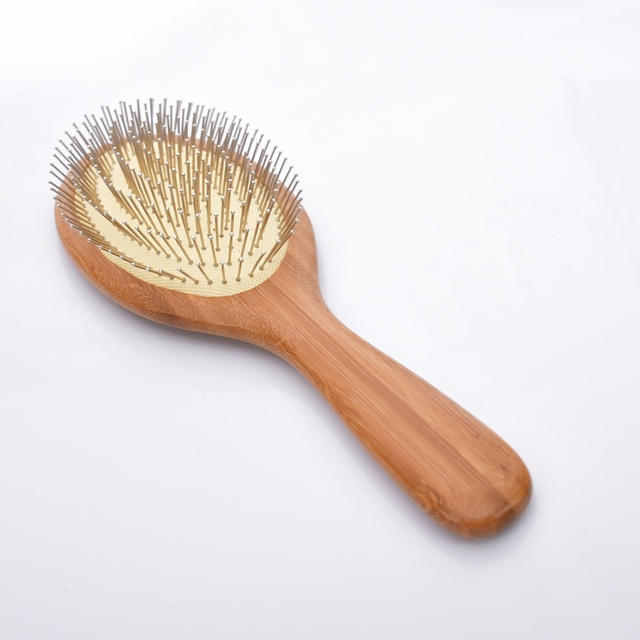 Bamboo Wood Hair Brush with Steel Teeth