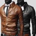 Мода уменьшают подходящую искусственная кожа мужчины воротник мужской сплошной цвет тонкий кожаная куртка Высокое качество хомбре мотоцикл