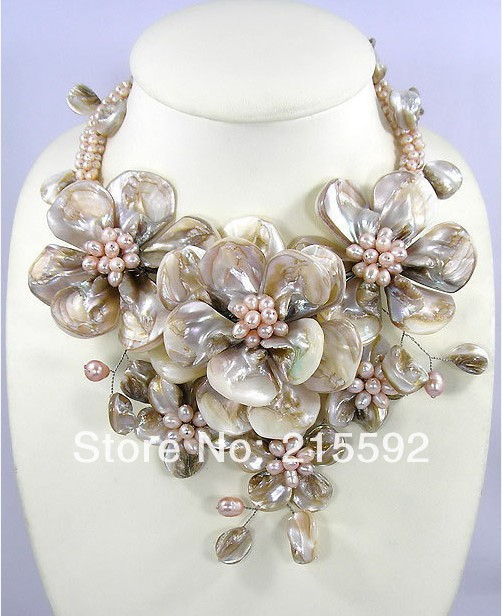Merveilleux collier de fleurs en coquillage gris chaînes collier romantique mariage bijoux de mariée en gros livraison gratuite SP014