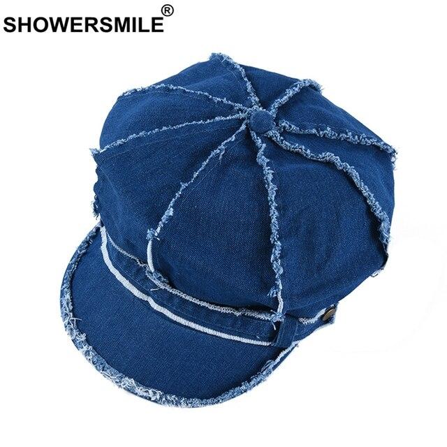 ae12a86492396d SHOWERSMILE Denim Hat Newsboy Cap For Woman Navy Blue Baker Boy Cap Washed  Cotton Female Spring Autumn Ladies Great Gatsby Cap