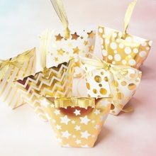6 style 12 pcs gold star dot Striped Paper Box and ribbon Candy Storage Boxes small Gift Pack wedding birthday party multi-use