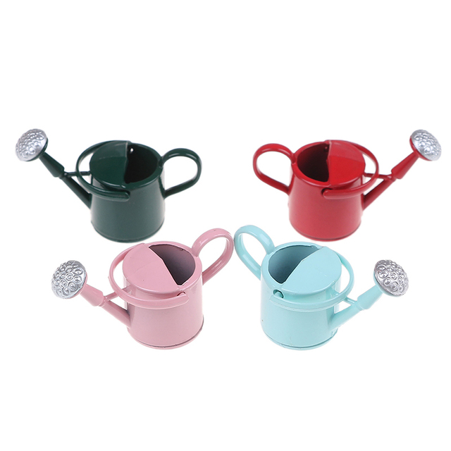 New Arrival 1/12 Metal Watering Can Garden Miniature Decoration For Children Kids Dolls Acces Dollhouse Miniature Furniture