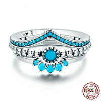 SexeMara Women 925 Sterling Silver Rings Bohemia Geometric 3 Piece Zircon Finger Ring for Women Engagement Jewelry Gifts SCR368