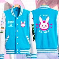 Anime Game OW Cosplay Costume Cute D VA Casual Jacket Sweatshirt Hoodie Unisex Casual Baseball Uniform
