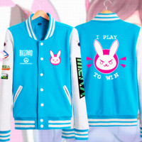Anime Game OW Cosplay Costume Cute D VA Casual Jacket Sweatshirt Hoodie Unisex Casual Baseball Uniform