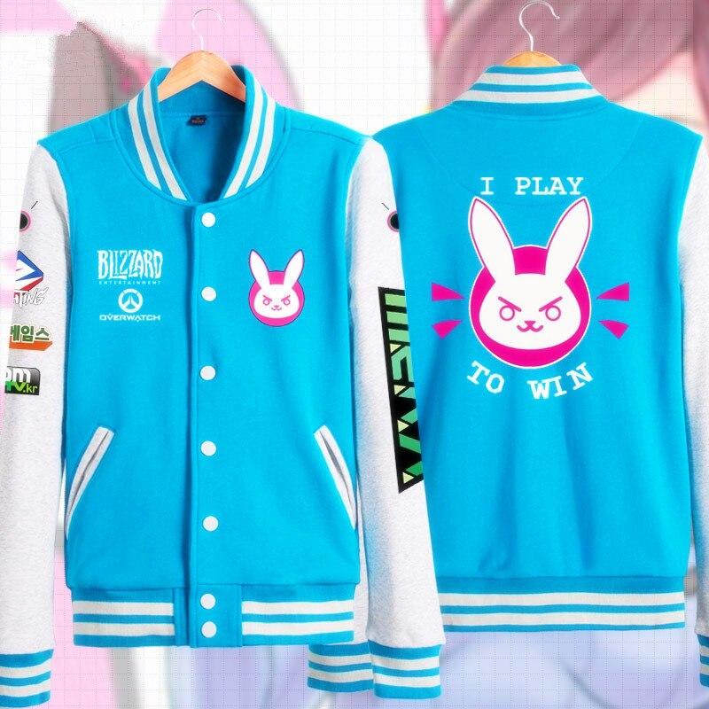 Anime Game OW Cosplay Costume Cute D.VA Casual jacket Sweatshirt Hoodie Unisex Casual baseball uniform Coat clothing