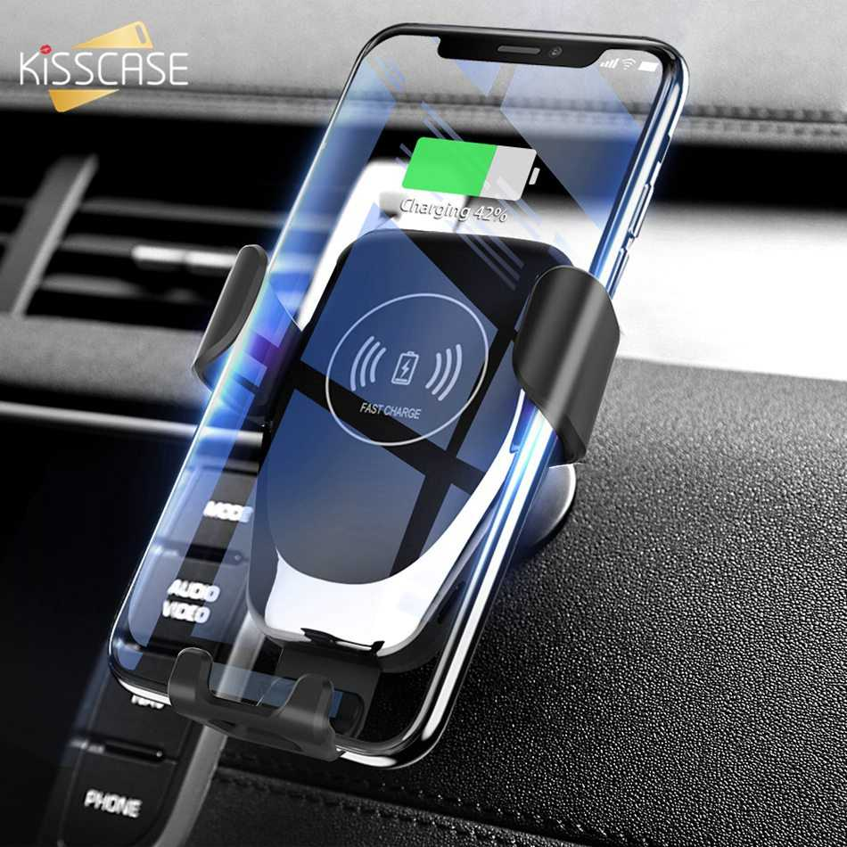 KISSCASE 重力チー車のワイヤレス充電器 iphone 7 8 プラス XR XS Max X 高速ワイヤレス車の充電器サムスンギャラクシー S10 プラス