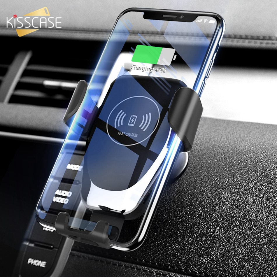 KISSCASE Gravity Car Wireless Charger For iPhone 8 Plus XR XS Max X Qi Fast Wireless Car Charger For Samsung Galaxy S10 Plus S10 in Car Chargers from Cellphones Telecommunications