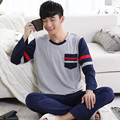 Free Shipping Male sleepwear autumn cotton pullover  lounge spring and autumn men's sleepwear summer long-sleeve set L-3XL