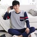 Frete grátis masculino sleepwear outono pulôver de algodão salão primavera e no outono dos homens sleepwear verão conjunto de manga comprida L-3XL