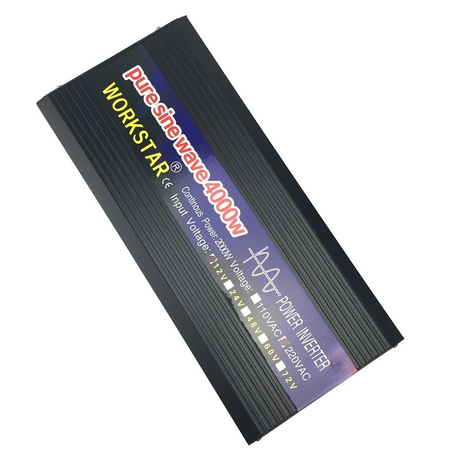 WORKSTAR пик 4000 Вт Чистая Синусоидальная волна вне сети инвертор DC12V/24 В к ac220в Преобразователь мощности домашняя солнечная система