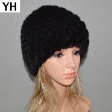 2020 Rusia las mujeres de invierno de gorro de piel de visón auténtica Real Piel de visón sombreros gorras caliente suave, de punto Forro de algodón gorro de piel auténtica de visón
