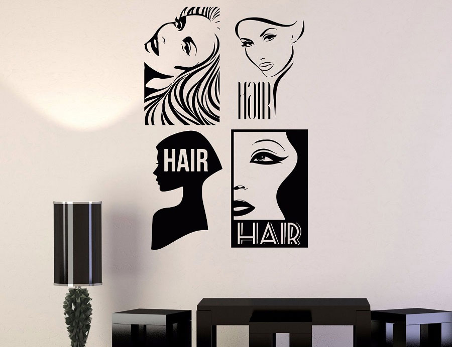Hair salon wall decal four ladies avatar wall decoration vinyl decal sticker art mural applique MF08 in Wall Stickers from Home Garden