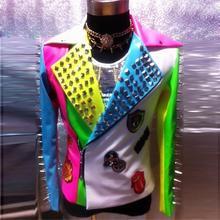 PU Leather Male Singer Outwear with Rivet Fashion Multicolored Stage Wear Clubwear Nightclub Dancer Costume DH