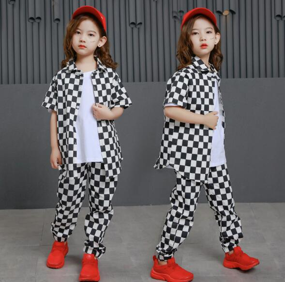 Fashion Girls Boys Plaid Outfits Korean Kids Short Sleeve Shirt And Pant Two Piece Set Clothes For Teenager Children 10 12 Years