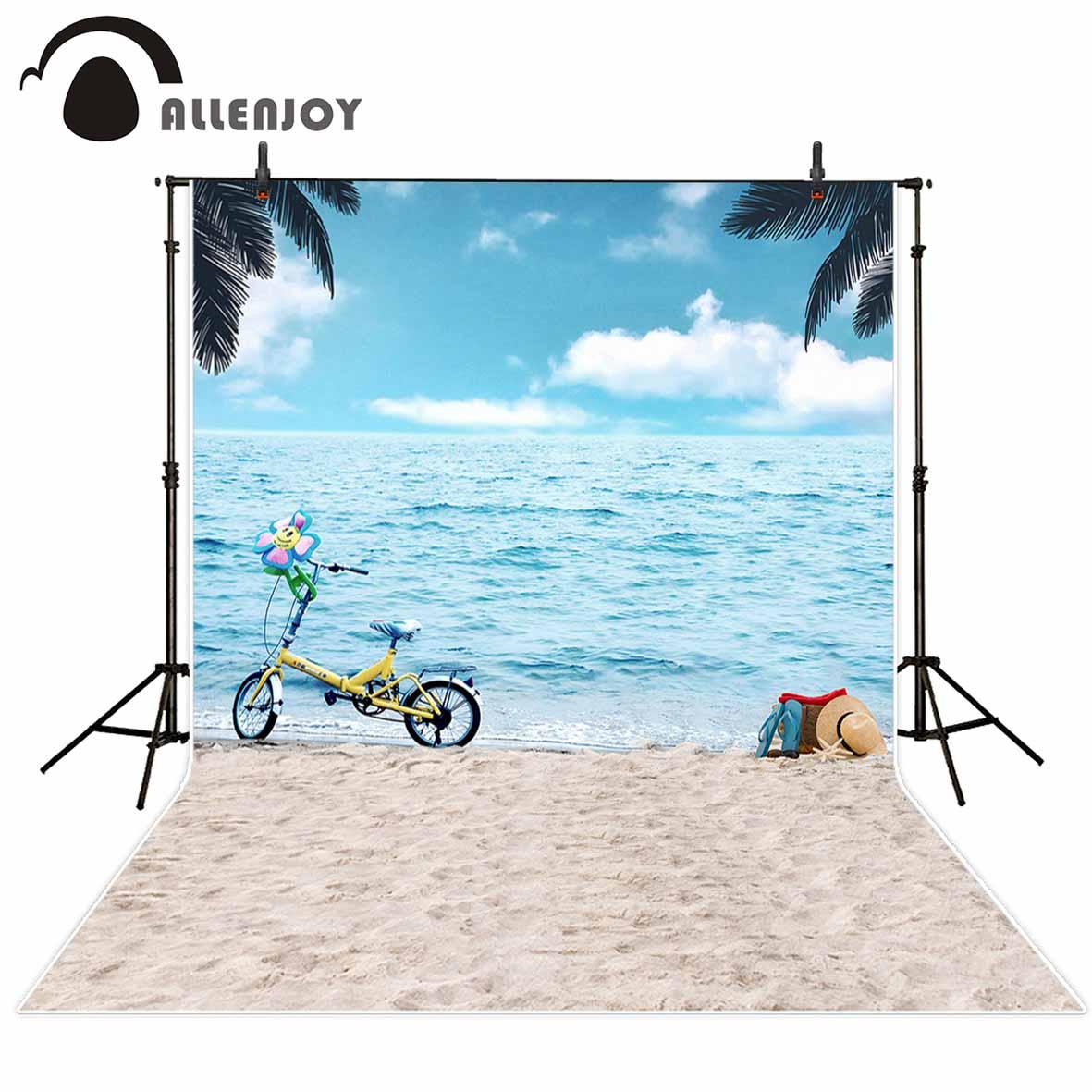 Doelbewust Allenjoy Achtergronden Voor Fotostudio Strand Zomer Gelukkig Blauwe Hemel Zon Fiets Holiday Photo Studio Photocall Hoge Kwaliteit Foto