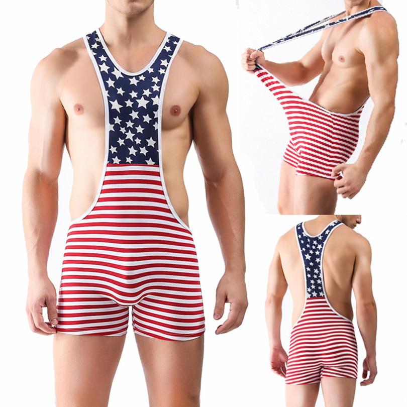 2015 New Mens Sexy Lingerie Soft Milk Silk American Flag Print Pants High Waist Jumpsuit USA Men Wrestling Singlet Bodysuit S-XL