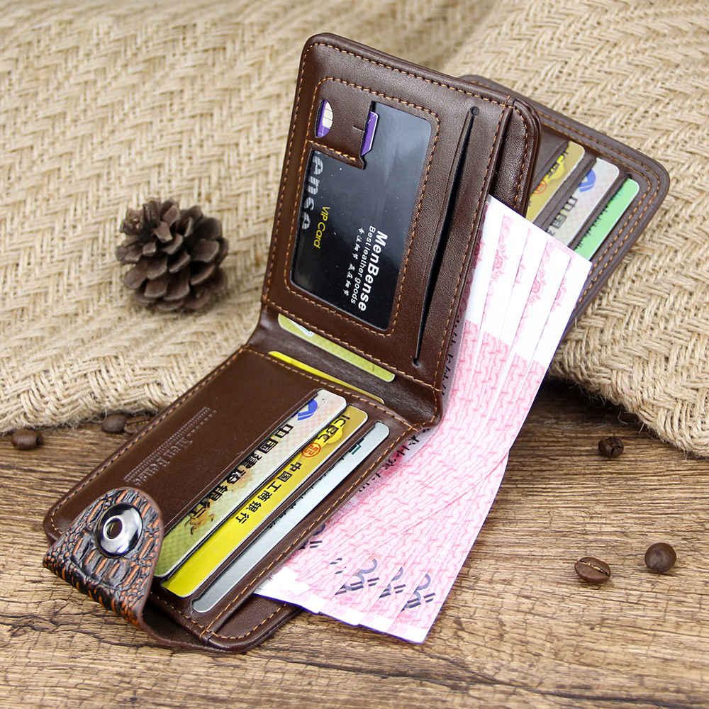 Купить с кэшбэком mens wallet leather genuine short purse billetera hombre men wallets vintage style cartera hombre crocodile  Alligato portemonne