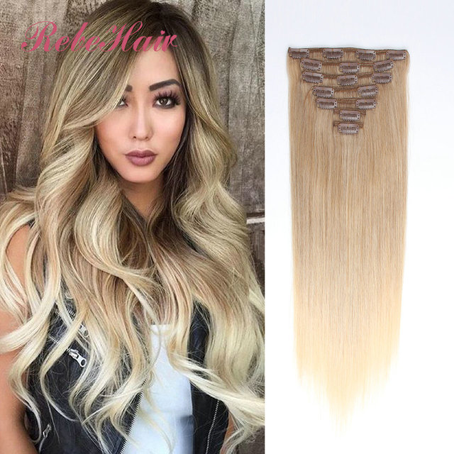 clip in brazilian human hair extensions 130g balayage ombre hair extensions 8 ash brown to 60. Black Bedroom Furniture Sets. Home Design Ideas