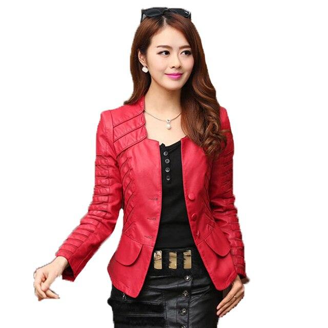 2017 Autumn leather jacket women casual long sleeve faux short ...