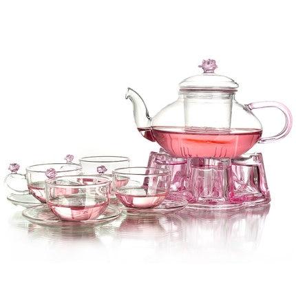 Heat-resistant glass tea set flower teapot with filter tea pot black tea flowers Kung Fu teacup Complete set of afternoon teaset