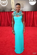 Hot Sale Elegant Celebrity Dresses Lupita Nyong O Turquoise Sheath prom Dress Red Carpet Evening Gowns Party