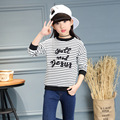 2017 Spring New Arrival Baby Girl Hoodies Classic Stripe Embroidery Kid Sweatshirt Children Cotton Top Tees Clothes