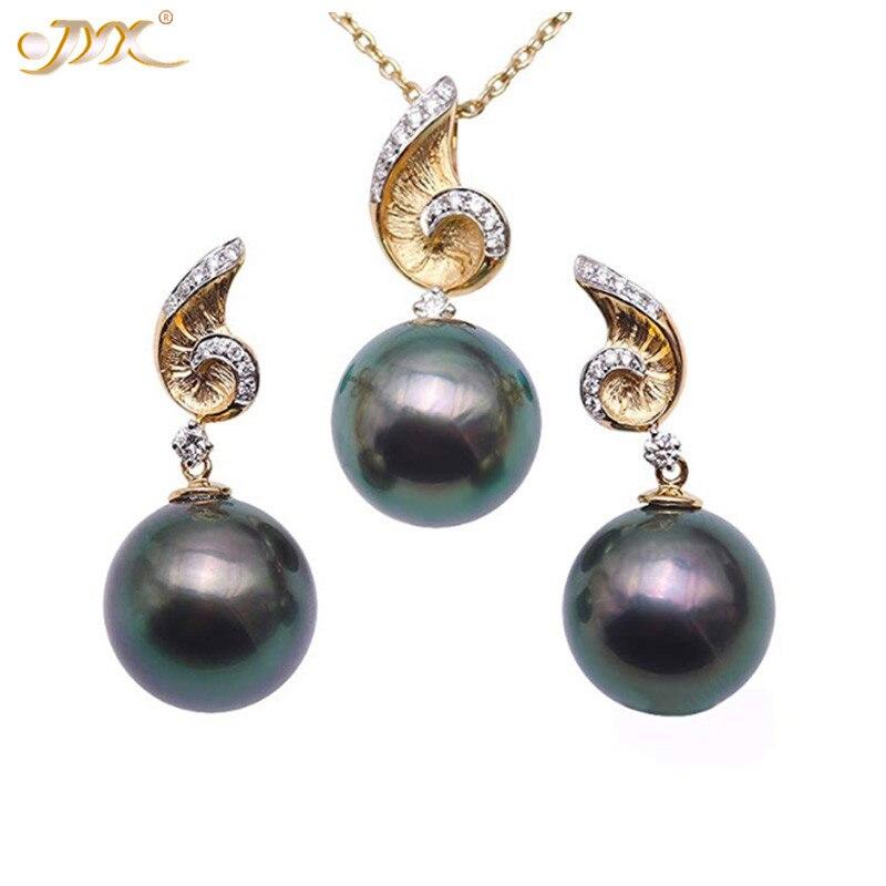 JYX ensemble de bijoux en forme de coquillage tahitien 11mm pendentif et boucle d'oreille en perles rondes vert paon or 18 K ensembles de bijoux avec perle