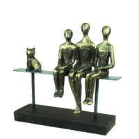 Modern Abstract Iron Art Family Statue Resin Figure Portrait Sculpture Birthday Gift for Parents Home Decor Cat Craft Ornament