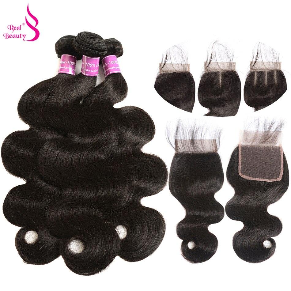 Real Beauty 3 Bundles Brazilian Body Wave Human Hair Weave Bundles With Lace Closure 4PCS Lot
