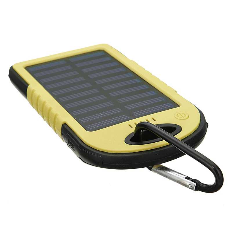 Cncool 8000mAh Solar Panel Power Bank  Dual USB External Battery Pack Power Charger With Charging Cable For Phone Tablet