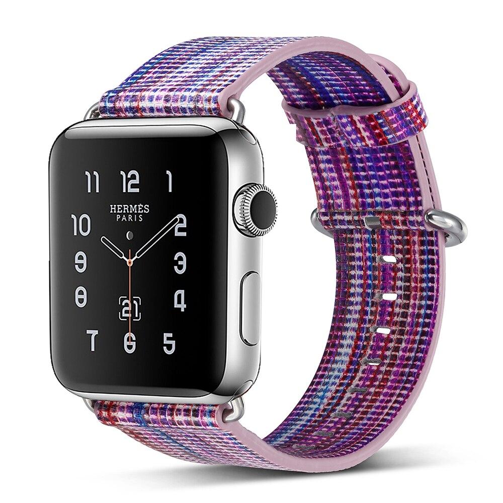 3f9c055f3bb UEBN multicolor couro relógio Banda para Apple 42mm 38mm substituição  pulseira correia de pulso para iWatch Série 3 2 1 Com adaptador em Pulseiras  de ...
