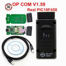 2018 الساخن بيع أداة تشخيص المهنية لأوبل OP COM V1.59 OP-COM مع حقيقي PIC18F458 رقاقة السيارات الماسح الضوئي