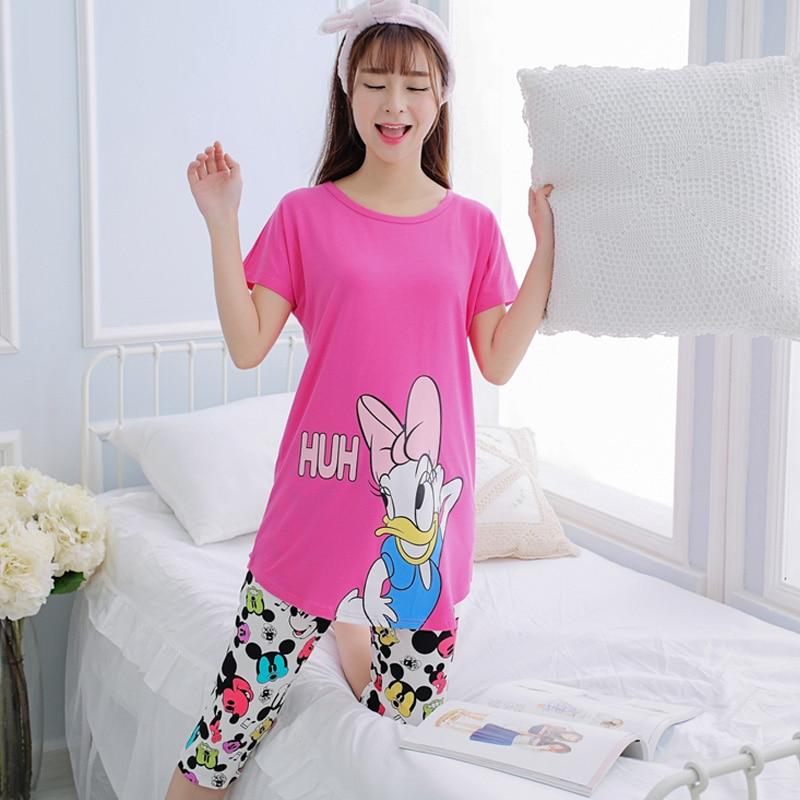 fashion Short Sleeve Sleepwear Suit Summer Women kawaii   Pajama     Set   Girl cartoon Print Pyjama   Set   Women Nightshirt pijama mujer