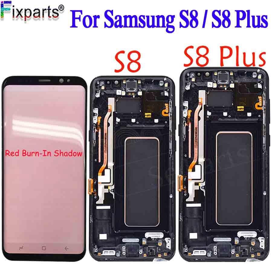Para Galaxy Substituição da tela Para SAMSUNG Galaxy S8 G950F S8 Exibição Para Samsung S8 Plus G955 Screen Display Vermelho Queimar -Shadow