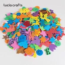Lucia crafts 100 шт Случайные Смешанные цвета поролоновые бумажные наклейки детские наклейки эва Обучающие DIY Скрапбукинг Ремесло H0105