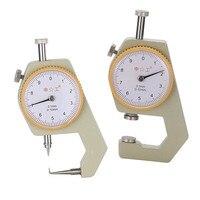 2 unids dial medidor de espesor cabeza plana y cabeza torcida 0-10*0.1mm Gage medidor Sábanas cuero de metal