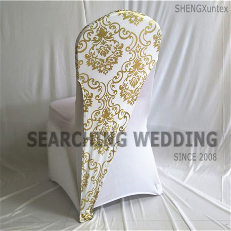 New Design Bronzing Coated Lycra Spandex Chair Cap Hood For Wedding Chair Cover Decoration