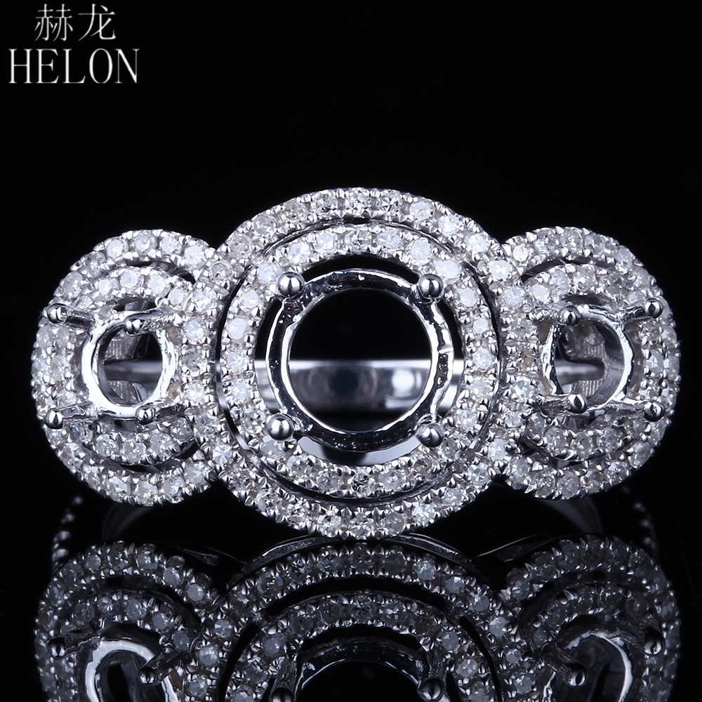 HELON Solid 14K White Gold Round Cut 5mm 6 75mm 4mm Pave Genuine Natural Diamonds Semi