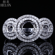 HELON Solid 14K White Gold  Round Cut 5mm -6.75mm & 4mm  Pave Genuine Natural Diamonds Semi Mount Engagement Women Jewelry Ring