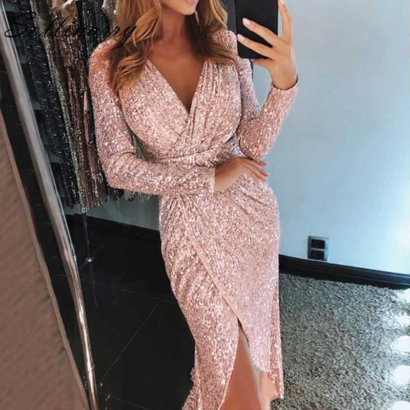 2d4e1103fd Sollinarry Women Sexy Bodycon Split Long Dress Sequin Sparkly Party And Glitter  Club Dresses Silver Feminino