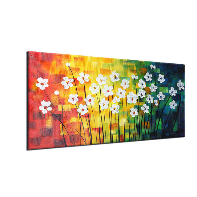 2018 Hand painted Oil Paintings Modern Abstract Spring Flowers Wall ...